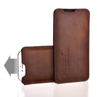Almwild iPhone SE/8/7/6-Hülle Sattlerschorsch, Größe L2, Braun