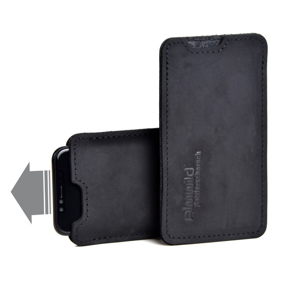 Almwild iPhone 11 Pro Max-Hülle BREIT Sattlerschorsch, Schwarz,Leder für iPhone+Backcase