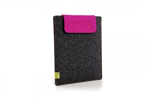 Almwild iPad 1-4 - Sleeve Schiefergrau-Pink Schofliesl mit Verschlusslasche in Pink, 100% Merino-Wol