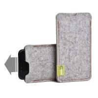 Almwild iPhone X/Xs -Hülle Dezenzi Größe L3, Alpsteingrau, Filz