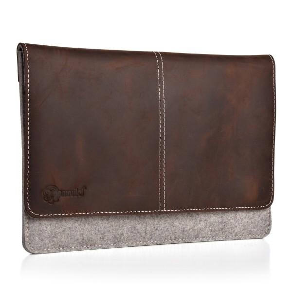 ALMWILD iPad 11 10.5 10.2 9.7 Zoll Tasche. Echtes Rindsleder & 100% Wollfilz. In Alpstein- Grau mit
