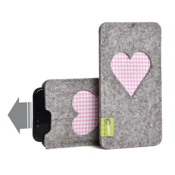 Almwild iPhone 12 Mini - Hülle BREIT Gschbusi, Alpsteingrau, Filz für iPhone + Backcase