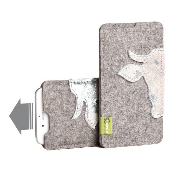 Almwild iPhone 11-Hülle Kuah Größe L6, Filz,Alpsteingrau,Kuhfell-Kopf