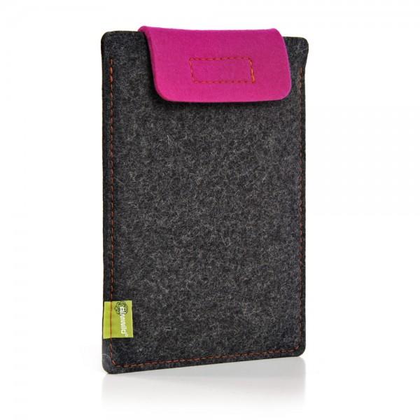 Almwild iPad Air/Pro 11 10.5 10.2 9.7 - Sleeve Schiefergrau-Pink Schofliesl mit Verschlusslasche i