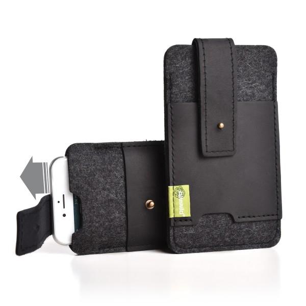 Almwild iPhone SE/8/7/6-Hülle Zuaknopft Größe L2 Schiefergrau mit EC-Echtleder-Kartenfach