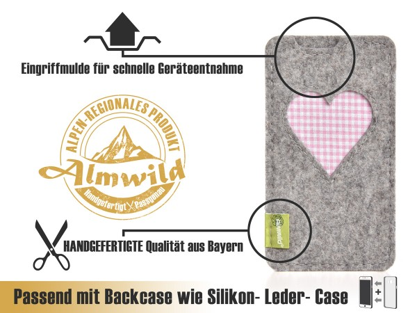 Almwild iPhone Xr-Hülle BREIT: iPhone+Backcase. Gschbusi Alpstein L4B Filz
