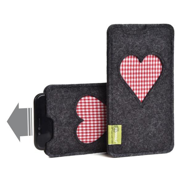 Almwild iPhone 12 Mini - Hülle BREIT Gschbusi, Schiefergrau,Filz für iPhone + Backcase