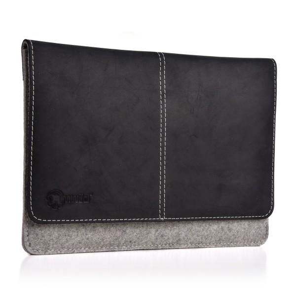 ALMWILD iPad Pro 12.9 Zoll Tasche. Echtes Rindsleder & 100% Wollfilz. In Alpstein- Grau mit Echtlede