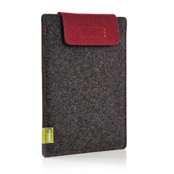 Almwild iPad Air/Pro 11 10.5 10.2 9.7 - Sleeve Schiefergrau-Bordeaux Schofliesl mit Verschlusslasc