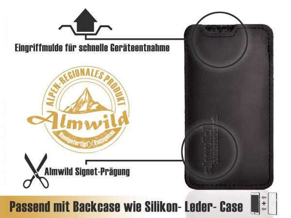 Almwild iPhone Xr-Hülle BREIT: iPhone+Backcase. Sattlerschorsch, Größe L4B, Schwarz
