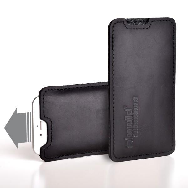 Almwild iPhone 11-Pro-Hülle Sattlerschorsch, Größe L7, Schwarz