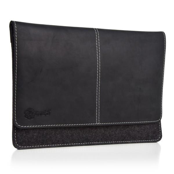 ALMWILD iPad Pro 12.9 Zoll Tasche. Echtes Rindsleder & 100% Wollfilz. In Schiefer-Grau mit Echtleder