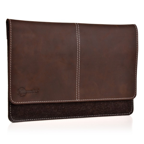 ALMWILD iPad 11 10.5 10.2 9.7 Zoll Tasche. Echtes Rindsleder & 100% Wollfilz. In Trüffel- Braun mit